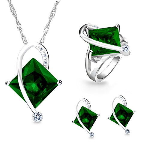Diamond Peridot Jewelry Set - Uloveido Unique White Gold Plated Large Square Simulated Peridot Necklace Pierced Earrings Bypass Rings with Clear Cubic Zirconia for Women (Green, Size 6) T295