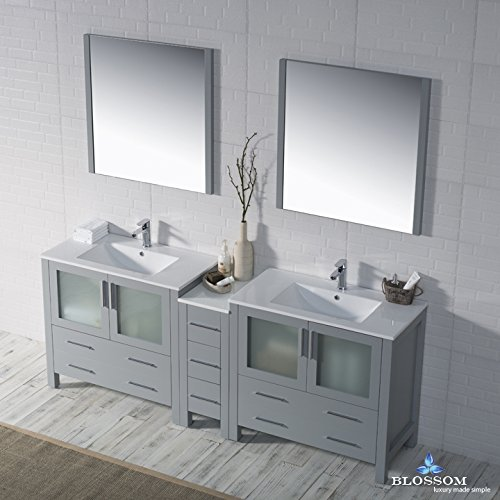 BLOSSOM 001-84-15-D Sydney 84'' Double Vanity Set with Mirrors Metal Gray