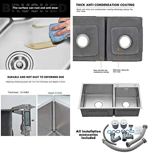 FChome Kitchen Sink Double Bowl,30.7X17 Inch Undermount Stainless Steel Kitchen Sink 3mm Thickness with Free Accessories,Brushed Nickel by FChome (Image #6)