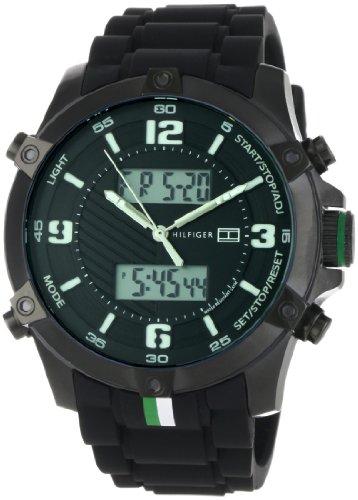 (Tommy Hilfiger Men's 1790782 Sport Analog-Digital Black Ion-Plating Black Silicon Watch)