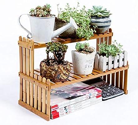 Yanhonin Estantería de Flores para Plantas, Soporte Escalera para Plantas de Madera de bambú, decoración de Oficina en casa, 27 x 21 x 30 cm: Amazon.es: Hogar