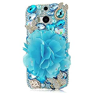 EVTECH(TM) Luxury 3D Handmade Bow Fashion Crystal Rhinestone Bling Hard Case Cover Clear for New HTC One M8 HTC One 2014 Smartphone