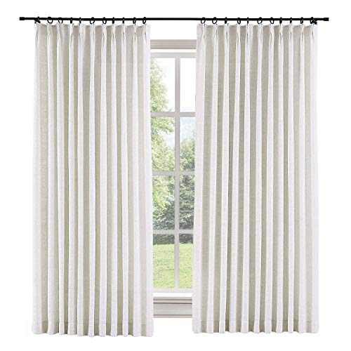 TWOPAGES 100 W x 96 L inch Pinch Pleat Darkening Drapes Faux Linen Curtains with Blackout Lining Drapery Panel for Living Room Bedroom Meetingroom Club Theater Patio Door (1 Panel),Beige White ()
