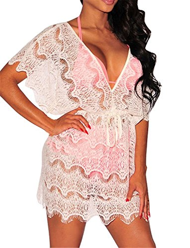 Musamk Voluptuous Sexy Womens Deep V Neck and Back Lace Cover up Mini Dress WhiteOne Size Attractive (Isso E Halloween)