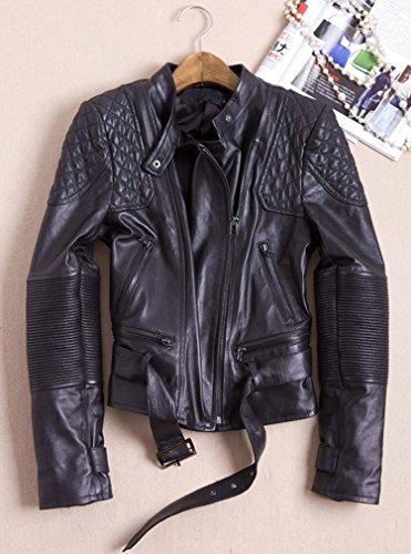 Abrigos negro PU Chaqueta motociclista Cuero Moto Chaqueta Cazadoras Biker Manga Larga de Elegante Mujer Jacket q6gvwnxW7q