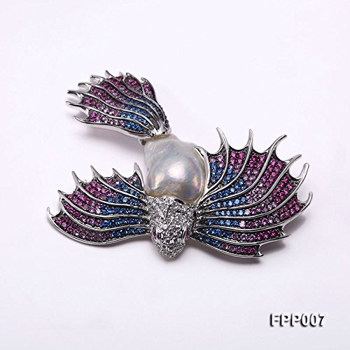 JYX Fine Bird-style White Baroque Pearl Pendant Brooch by JYX Pearl (Image #8)