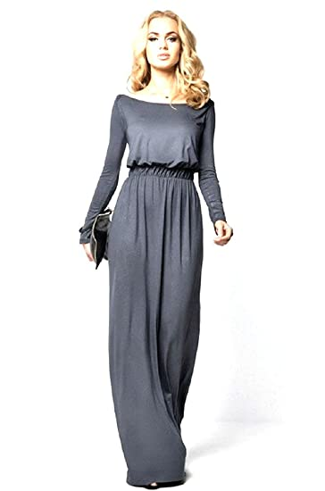 Women 2018 Long Sleeve Maxi Dress 4 Colors Vintage Elegant Dress For Evening Party Boat Neck