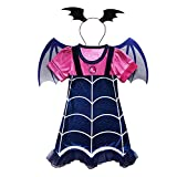 WuFun Girls Vampirina Costume Outfit with Headband Halloween Dress up