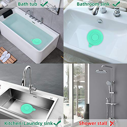 SUDISER Bathtub Drain Stopper 2 Pack, Silicone Tub Stopper Flat Suction Cover Tub Stopper Drain Stopper Plug Sinks Hair Stopper for 1-1/2-4in Bathroom, Laundry, Kitchen Universal Use