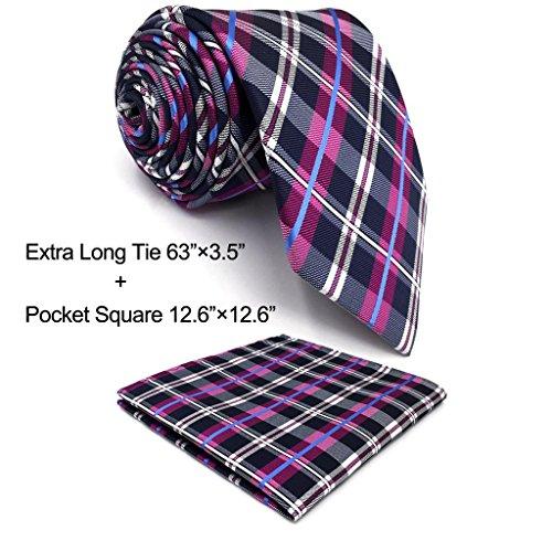 shlax&wing Men's Necktie Checked Purple Designer Tie Silk (Extra Long Designer Ties)