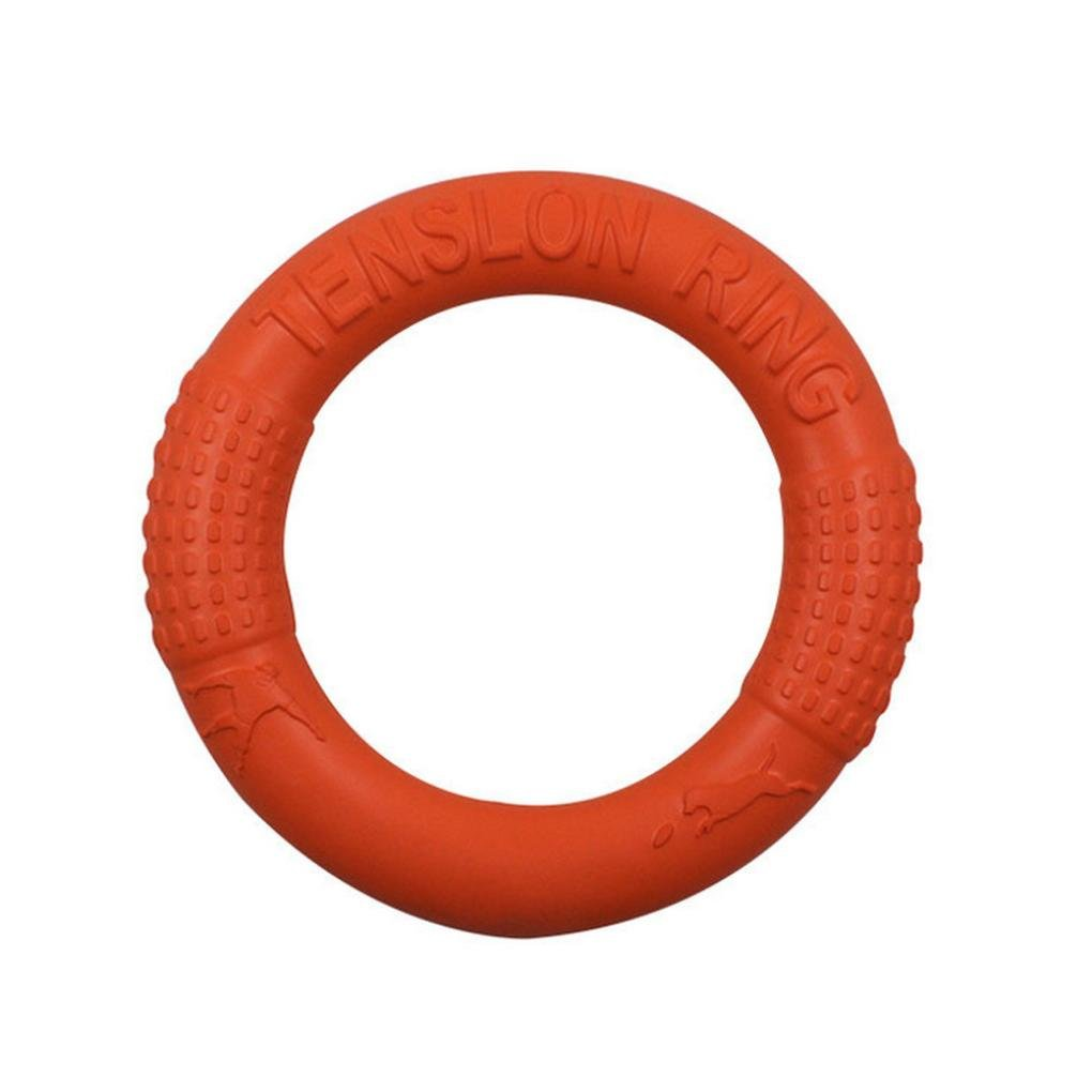 Henji Dog Frisbee Toy EVA Pet Pull Ring Bite-Resistant Floating Dog Toy Pets Flying Dog Chew Toys Non-Toxic Fitness Tension Ring for Dogs (L, Orange)