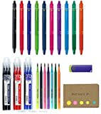 Pilot FriXion Ball Knock Retractable Gel Ink Pen, Fine Point 0.7 mm, 10 Colors, Refills for Frixion 0.7mm 16 total, Frixion Eraser, Sticky Notes Value Set