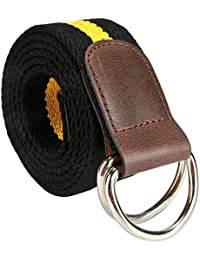 Men's Double D-ring Stripes Canvas Belt PU Leather Trimming Casual Belt