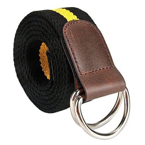 Leather D-ring Belt - Ayliss Men's Double D-ring Stripes Canvas Belt PU Leather Trimming Casual Belt (Black & Yellow, 47.2