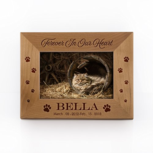 Personalized Cat Picture Frame Cat Memorial Frame Customizable with Name and Date | Size Options 4x6, 5x7, 8x10 - Free Engraving Made to Order #F3 ()