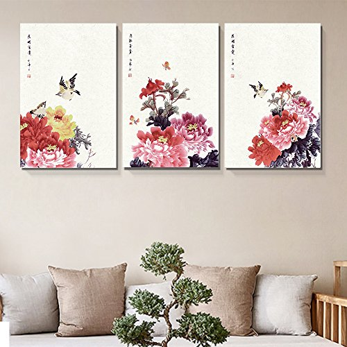 "wall26-3 Panel Canvas Wall Art - Chinese Ink Painting of Flowers and Birds - Giclee Print Gallery Wrap Modern Home Decor Ready to Hang - 16""x24"" x 3 Panels"