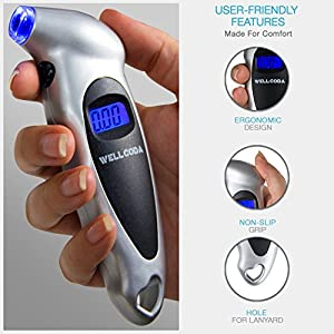 Wellcoda Car Tire Pressure Gauge 150 PSI - Digital, Built-In Battery, Lighted Nozzle, 4 Settings, Non-Slip Grip, Backlight LCD Display | Perfect for Car, Motorcycle, Bike and SUV + Bonus Gift