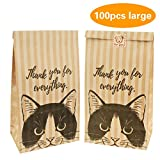 100 PCS Cute Kitty Kraft Paper Bags Treat Packagings for Cookie, Candy, Cake, Chocolate, Snack Wrapping Good for Bakery Party Gift Giving with Stickers(Black,Large)