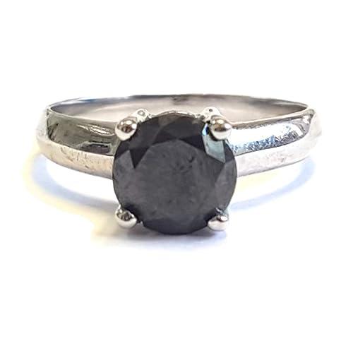 vendita a basso prezzo 2020 nuovo aspetto Anello di fidanzamento con diamante nero rotondo da 2 ct ...