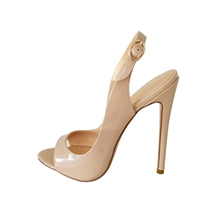 3243a6cf53 Kolnoo Women's 120mm High Heel Peep Toe Slingback Sandals Buckle Dress Shoes  Nude US5