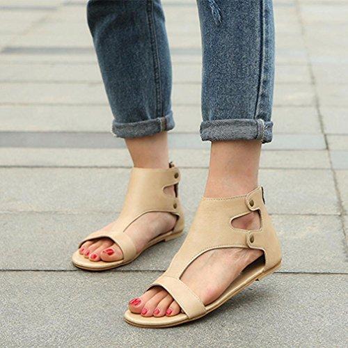 Bailarinas Sandalias y Zapatos Bohemia Elegante Y de Chanclas Roman ASHOP De Zapatillas Las Beige de Cordones Verano Playa Moda Sandalias Mujer Planas Cómodo Cuero xEaZI