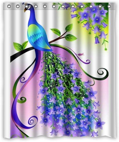 "Outlet-Seller Custom Elegant Charming Peacock with Purple Flowers Waterproof Bathroom Fabric Shower Curtain 60"" x 72"""
