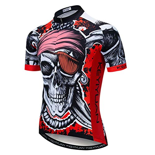 - Uriah Men's Cycling Jersey Short Sleeve with Rear Zippered Bag Reflective Pirate Red Size XL