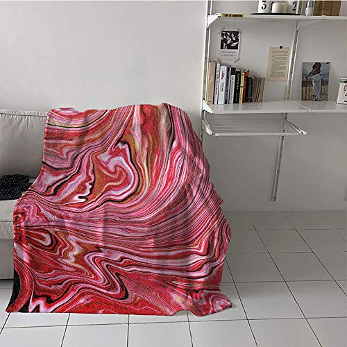- alilihome Children's Blanket Girl Soft Blanket Microfiber (60 by 62 Inch,Marble,Colorful Artistic Wavy Lines in Vivid Tones Crystallized Style Abstract Picture,Pale Pink Red