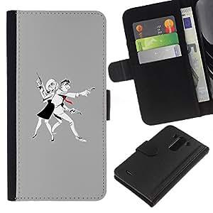 ZCell / LG G3 / Man Woman Criminal Gun Art Drawing / Caso Shell Armor Funda Case Cover Wallet / Hombre mujer Penal Arma Arte Dibujo