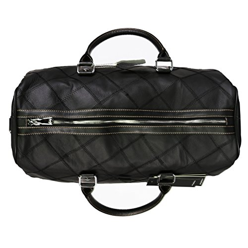 Leather Travel Duffel Bag Weekender Overnight Carry On Luggage Luxurious Vintage Leather Perfect Fit to Airplane Underseat (Black) by Gionar (Image #5)