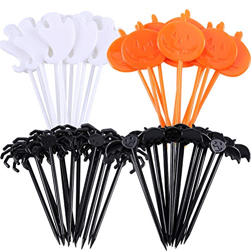 SATINIOR 200 Pieces Halloween Food Picks Halloween Cupcake Toppers Picks for Halloween Party Decorations