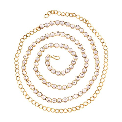 Aheli Ethnic Kundan Waist Charm Jewelry Kamar Patta Belly Chain Indian Traditional Sari Saree Belt for Women