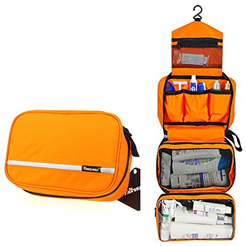 Relavel Hanging Travel Toiletry Bags Toiletry organizer Waterproof Toiletries Bag for Men & Women Bathroom Storage Cosmetic Bag Shaving Kit Orange