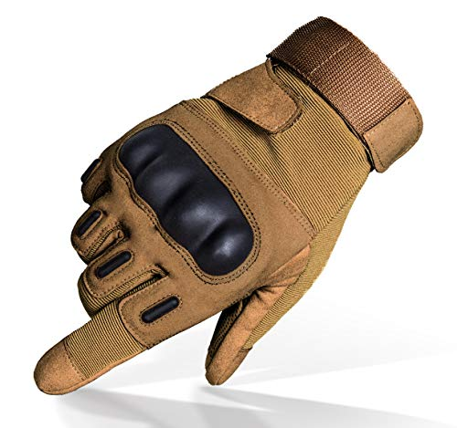 TitanOPS Full Finger Hard Knuckle Motorcycle Military Tactical Combat Training Army Shooting Outdoor Gloves (Tan, L)