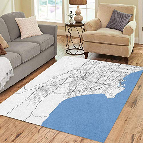 Pinbeam Area Rug County Map Los Angeles City California Roads Capital Home Decor Floor Rug 2' x 3' Carpet (Los Angeles Area Codes And Zip Codes)
