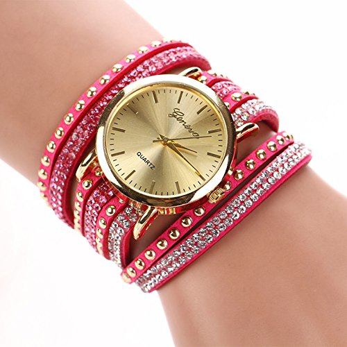 New Mens Watches, Fashion Women Watch Ladies Faux Leather Rhinestone Analog Quartz Wrist Watches, Best gift for yourself or your lover. (red - Casio G Shock Aviator