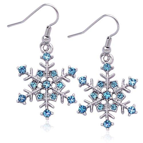Snowflake Charm Bridesmaid Hook Earrings Wedding Jewelry (Aqua Blue)