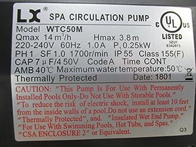 "American Spa Parts LX Circulation Pump WTC50M 230V Interspa 1 1/2"" Side Discharge"