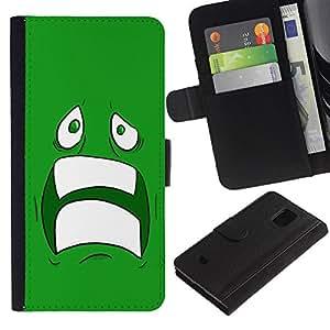 Paccase / Billetera de Cuero Caso del tirón Titular de la tarjeta Carcasa Funda para - Sad Scared Face Ugly Fear Cartoon Green Teeth - Samsung Galaxy S5 Mini, SM-G800, NOT S5 REGULAR!