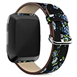 Junboer Compatible Fitbit Versa Bands Women, Leather Accessory Genuine Leather Wristband Strap Replacement for Fitbit Versa Smartwatch