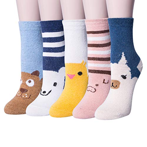 5 Pairs Womens Vintage Style Thick Knit Warm Wool Winter Crew Socks
