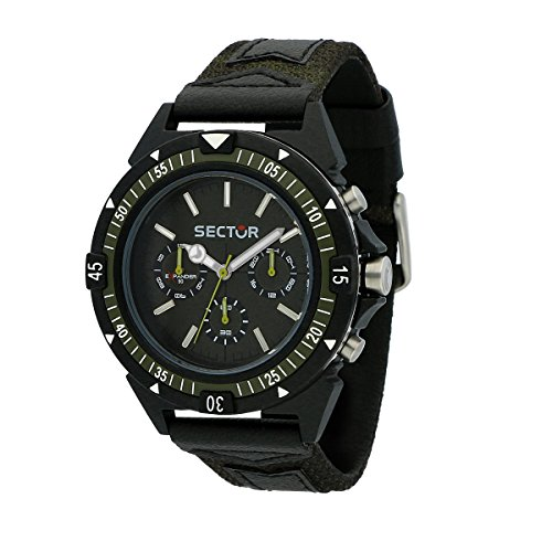 SECTOR Men's Expander 90 Analog-Quartz Sport Watch with Leather Strap, Green, 18 (Model: R3251197052