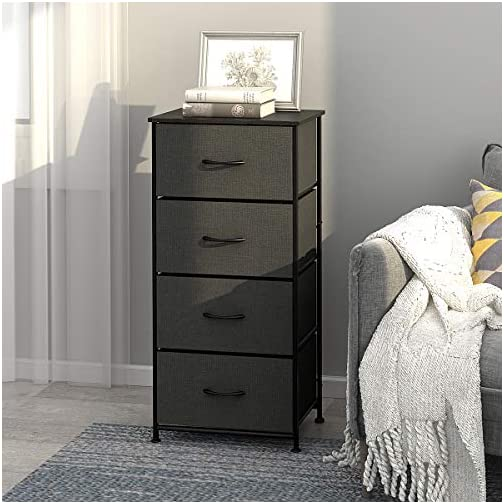 WLIVE Dresser with 4 Drawers, Fabric Storage Tower, Organizer Unit with Sturdy Steel Frame, Wood Top, Easy Pull Handle