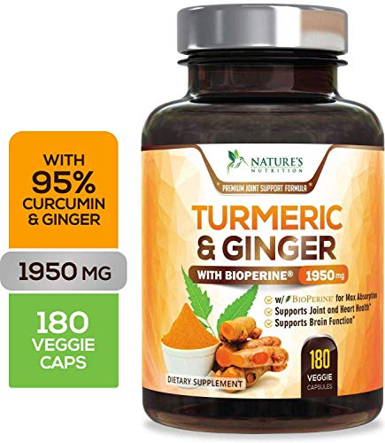 Turmeric Curcumin with Ginger 95% Curcuminoids 1950mg with Bioperine Black Pepper for Best Absorption, Best Vegan Joint Pain Relief, Made in USA, Turmeric Pills by Natures Nutrition - 180 Capsules