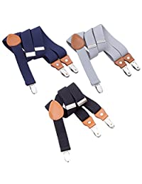 3PCS Kids Boys Mens Suspenders Sets - Adjustable Elastic Y Back Strong Clips Synthetic Leather Suspender (Navy Blue/Grey/Black, 23.6 Inch (7 Months - 3 Years))