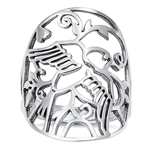 Women's Dove Wings Filigree Cutout Ring New .925 Sterling Silver Band Size 10 -