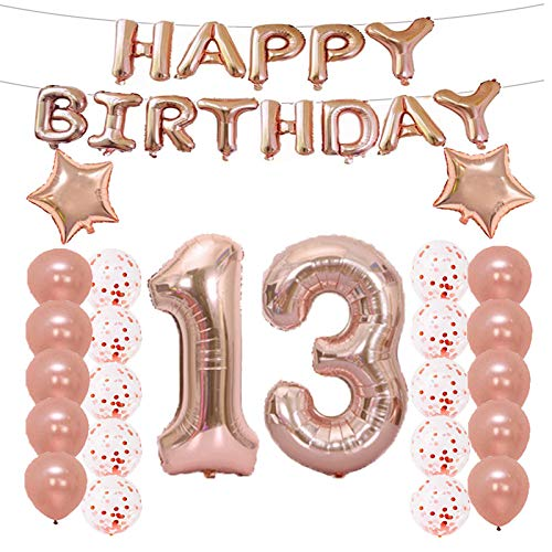 13th Birthday Decorations Party Supplies,13th Birthday Balloons Rose Gold,Number 13 Mylar Balloon,Latex Balloon Decoration,Great Sweet 13th Birthday Gifts for Girls,Photo -