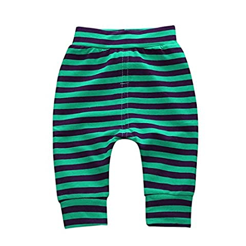 Little Baby Boys Girls Striped Long Casual Trousers Pants 3-6 Month Green