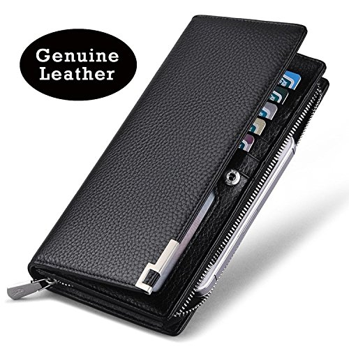 Men's Holder Zando Multicard Genuine Brown Wallet Zipper Vintage Long Leather Bifold Hxq4wqdCt