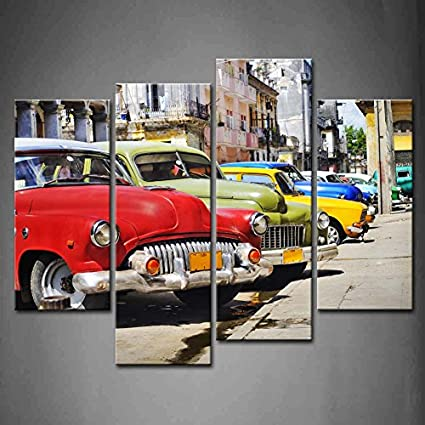 Amazon.com: 4 Panel Wall Art Group Of Vintage American Cars Parked ...